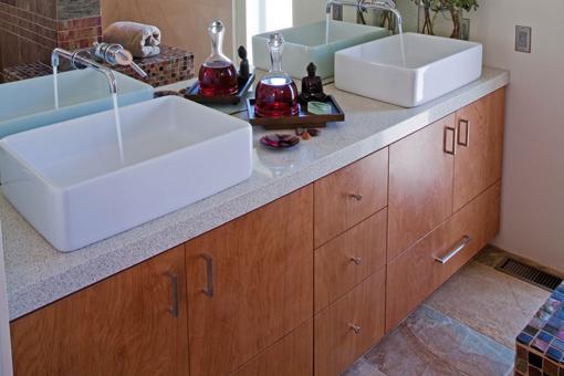 Red Birch Bathroom Cabinets Bookmatched Aires Doors Vessel Sinks Drawer Below Sink