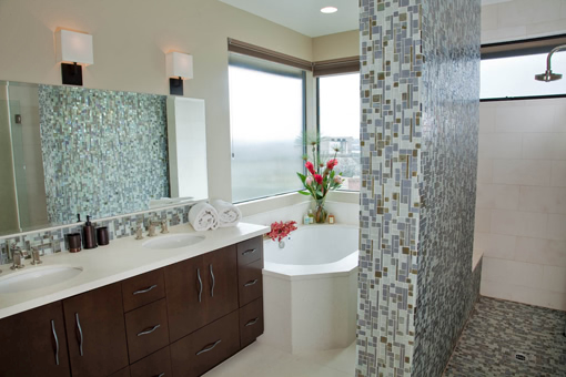 Contemporary Alder Bathroom Cabinets Bookmatched Aires Doors Java Stain