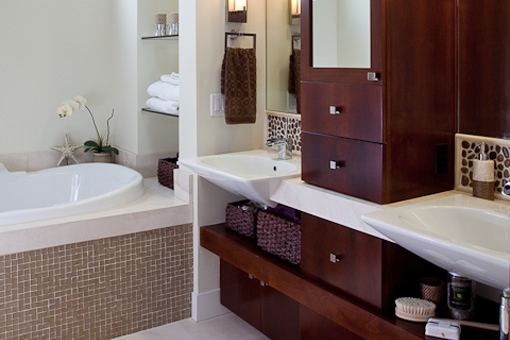 Contemporary Bathroom Cabinets Floating Shelves Floating Cabinets Upper Tower Built-in Vessel Sinks Cut into Wood Skirts