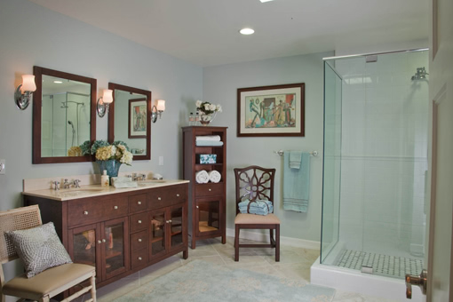 "Craftsman Style Bathroom Cabinets 2"" Square Legs Flush Inset Free Standing Linen Cabinet Glass Doors On Sink Cabinets"