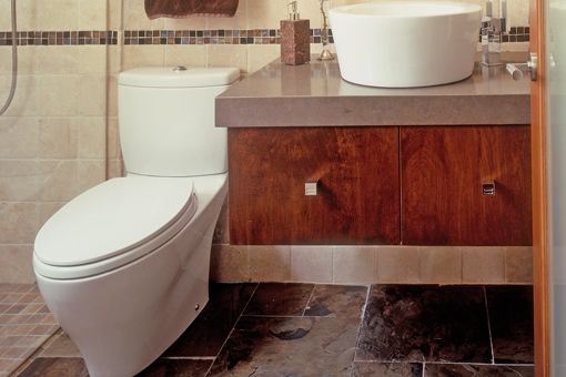 Bathroom Floating Cabinet with Brown Stain Vessel Sink and Thick Granite Edge