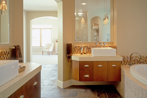 Floating Bathroom Cabinets Bookmatched Aires Doors Red Birch Cabinets Angled Clip On End of Cabinets