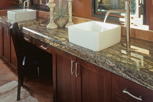 Alder Bathroom Cabinets with Shaker Doors Vessel Sinks Vanity Area