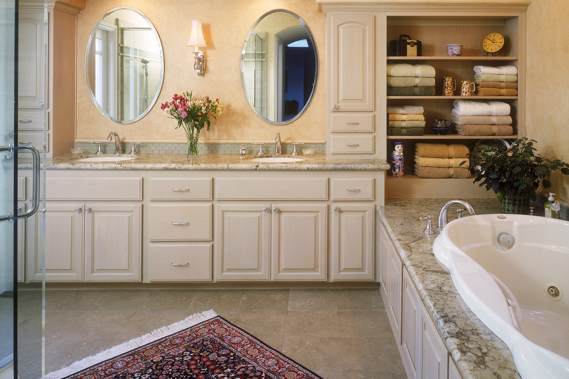 Traditional Style Bathroom Cabinets White Wash Finish Double Sinks Upper  Towers Open Linen Shelving On Tub
