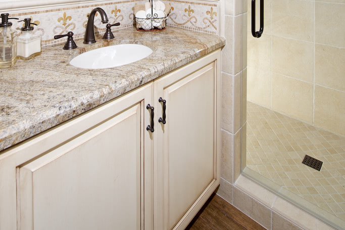 Wondrous Custom Bathroom Cabinets Curved Face Sinks Two Level Home Remodeling Inspirations Cosmcuboardxyz
