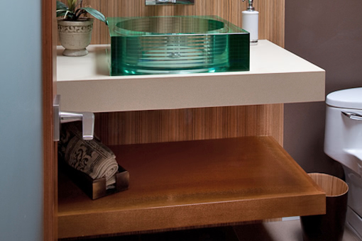 Bathroom Cabinets with Floating Vanity and Shelf Zebrawood Wall Paneling Vessel Sink Echo Wood