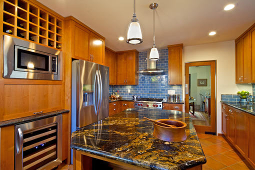 Kitchen Cabinets with Alder Wood Medium Brown Cinnamon Cayenne Stain Shaker Doors Flat Crown Wine Rack