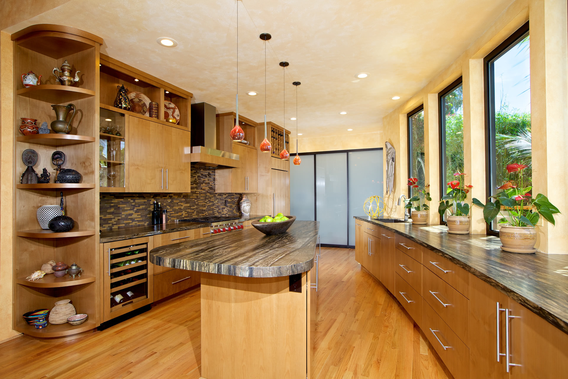 kitchen cabinets with alder wood clear finish bookmatched and flat doors - Alder Kitchen Cabinets