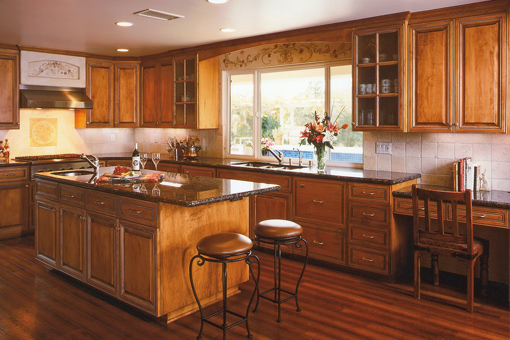 Kitchen Cabinets with Alder Wood Medium Brown Stain with Glaze Raised Panel Doors Crown Molding