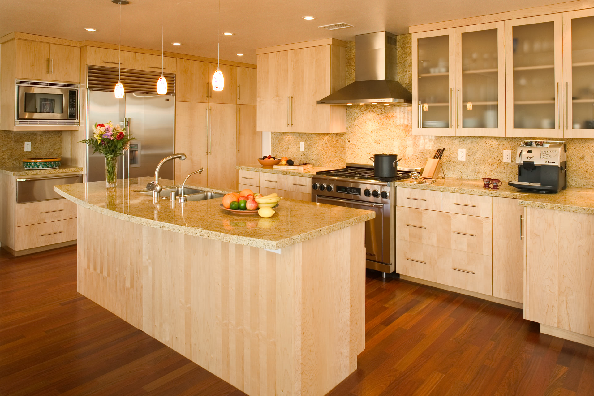 contemporary kitchen cabinets with quartersawn maple wood - Contemporary Kitchen Cabinets