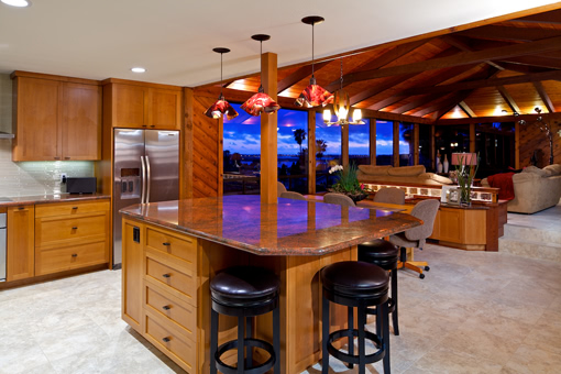 Craftsman Style Kitchen Cabinets Shaker Doors Alder Wood Full Overlay Custom Island with Seating