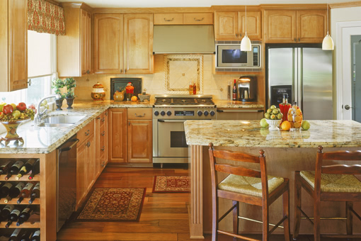 Traditional Kitchen Cabinets with Alder Wood Raised Panels Full Overlay and Fluted Styles