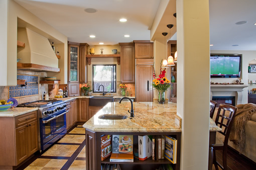 Traditional Kitchen Cabinets in Alder Solid Raised Panel Doors Wood Refrigerator Panels Farm Sink Island Bookcase Shelf Corbels Above Window