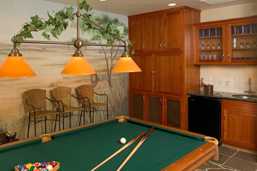Custom Wall Units In Bar with Pool Table