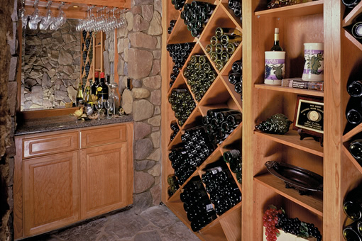 Custom Wall Units in Wine Cellar